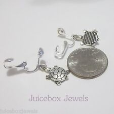 TURTLE Silver Tone Charm Clip On or Pierced Dangle 5/8 inch Drop Earrings G240