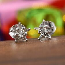 "Natural Diamond 925 Sterling Silver ""Snow Flake"" Stud Earrings."
