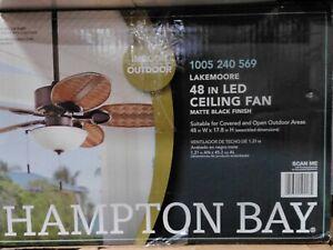Hampton Bay 48 in. LED Indoor/Outdoor Matte Black Ceiling Fan w/ Ligh Kit