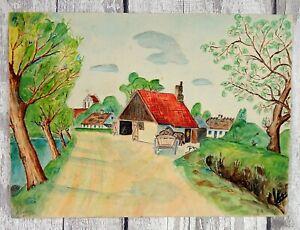 Original Vintage 1930s Danish School Painting Farm Watercolour Scandinavian
