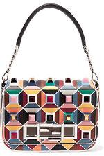 FENDI Baguette Pyramid Studs Embellished Multi-colored Leather Shoulder Bag NWT
