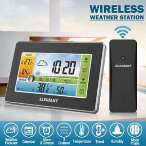 ELEGIANT Digital Wireless Color Weather Station Thermometer Humidity In/Outdoor