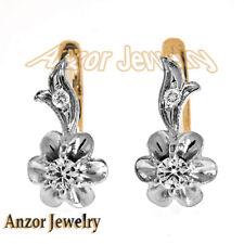 14k Solid Rose & White Gold Genuine Diamond Earrings Russian Jewelry
