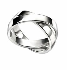 Elements Silver - Sterling Silver -  Double Link Ring  - Size R - New in Box