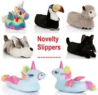 Ladies Womens Slippers Girls Novelty 3D Unicorn Toucan Llama Dog Rainbow UK 3-8