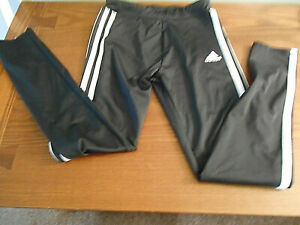 ADIDAS Boys Size 10/12 Medium Athletic Pants Black/White EUC Narrow ankle