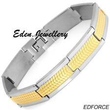 Stunning EDFORCE Men Bracelet Two Tone 24K/StSl Gold Plated Stainless Steel