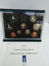 More details for 1992 royal mint uk proof 9 coin year set with rare dual date eec 50p 1992/1993