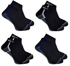 4 Pairs Mens Prohike Black Grey Blue Cushioned Trainer Sports Socks, Size 6-11