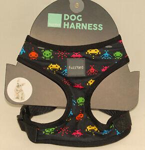 FUZZYARD - Fuzz Yard - Black Pixel Video Game Design Comfy DOG HARNESS sz L *NEW