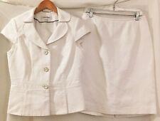 Calvin Klein Womens White Cotton Suit Jacket Skirt Set Size 8 Medium Career
