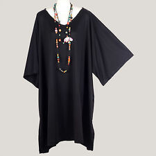 MEGA TUNIC * NEW WOMENS SIMPLE PLAIN BLACK CAFTAN KAFTAN BIG TOP PLUS SIZE 4X 5X