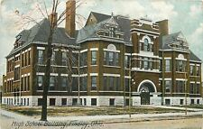 Findlay Ohio~Arch Doorway, Fancy Dormers in Old High School Bldg~1910 Postcard