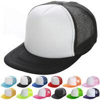 New Mesh Plain Fitted Flat Bill Visor Baseball Cap Basic New Blank Solid Hat