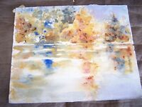 "Original Watercolor by Peg Humphreys Trees Reflected in Lake 13 1/2"" x 11"""