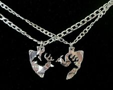 Her Buck His Doe Necklace 2 PC Set Arrowhead Browning Interlocking Deer Couples