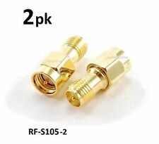 2-PACK RP-SMA (Reverse Polarity) Female to SMA Male Gold Adapter, RF-S105-2