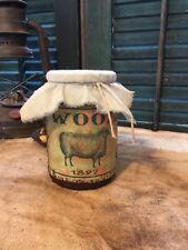 Primitive Fabric Rag Top Vintage Looking Pantry Jar 1897 Sheep Wool Label