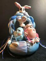 Vintage Ceramic Easter Basket w/ Egg Figure Characters