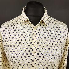 Paul Smith Mens Shirt LARGE Long Sleeve Beige SLIM FIT  Cotton