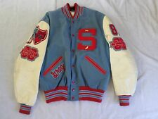 DELONG true vintage 80s made USA wool blue ivory red varsity letterman jacket 42