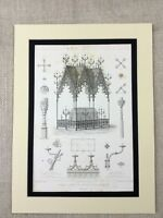 1857 Antique Engraving Nonnberg Salzburg Abbey Wrought Iron Architecture Canopy