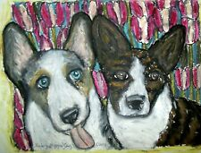 Cardigan Welsh Corgi with Tulips Dog Art Print Collectible 8x10 Signed by Ksams