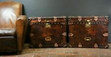 Finest English Matching Pair of Leather Handmade Side Table Trunks ZA07