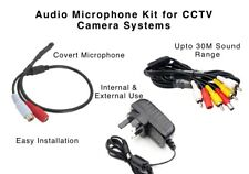 Covert HQ Audio Sound Microphone Add-on Kit for CCTV Cameras to 30M Easy Install