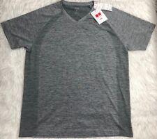 UNIQLO Dry-Ex SS Athletic Fitness V-Neck Mesh T-Shirt Men's S GRAY **NWT**