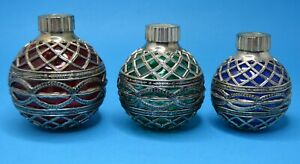 3 vtg Godinger Christmas Ornament Candle Holders Glass & Silver Plated Metal