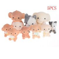 5x Flocking Doll Toys Mini Animals Decoration Toys For Girls Exquisite Gifts FRT