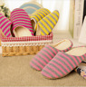 Winter Women Men Warm Striped Slippers Home Indoor Cotton Shoes Anti-slip