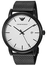 Emporio Armani Luigi White Dial Black Ion Plated Mesh Bracelet Men Watch AR11046
