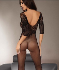 Bed Play Sexy Fishnet Body stocking Lingerie Floral Open Crotch Bodysuit 6-12