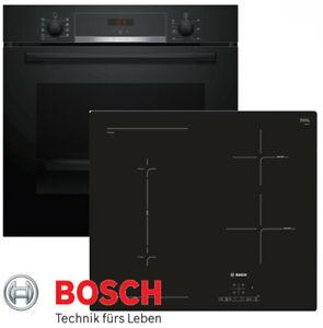 Bosch Induktion Herdset Autark Backofen Schwarz 3D  Kochfeld Induktion CombiZone