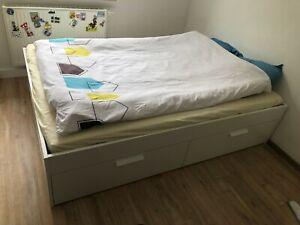 IKEA Brimnes Bett 140x200 Weiß; Leicht gebraucht; AB AUGUST 20, 2021 ABHOLBEREIT