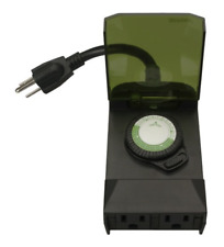 Woods 50011 Outdoor 24-Hour Plug-in Mechanical Timer with 2 Grounded Outlets