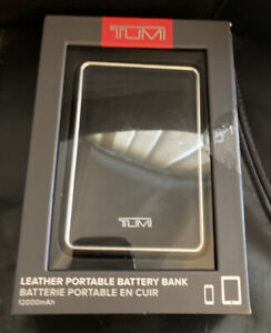 TUMI Leather Portable Battery Bank 12000 mAh NEW Retail $135