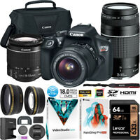 Canon EOS Rebel T6 DSLR Camera 18-55mm 75-300mm Macro Telephoto Lens Kit Bundle