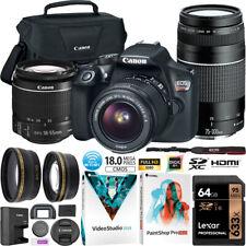 Canon EOS Rebel T6 DSLR Camera 18-55mm 75-300mm Macro Telephoto Lens Kit Bundle