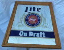 Vtg Miller Lite Beer Mirror On Draft Mancave Bar Framed
