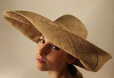 New Raffia Hat Oat Light Brown Hand Made Summer Beach Large Wide Brim