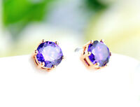 New 18K Rose Gold GF 8MM Classic Purple SWAROVSKI Lab Diamond Stud Earrings