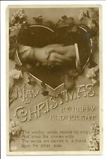 Christmas Be Happy & Bright Postcard Heart Hands
