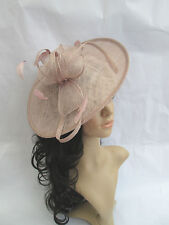 NEW OYSTER PINK SINAMAY & FEATHER FASCINATOR HAT.Shaped saucer disc,Wedding.