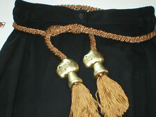 VINTAGE SATINY ROPE BELT WITH GOLDTONE ADORNMENT BALL