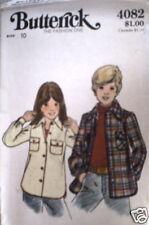 Vintage Butterick Pattern Girls Shirt Jacket 10 4082 SEWING