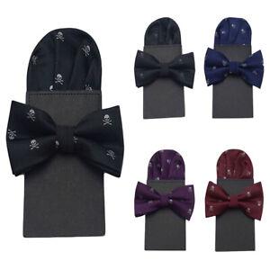 Men Stylish Skull Print Bowtie Pocket Square Set Bow Tie Pre-folded Party Hanky
