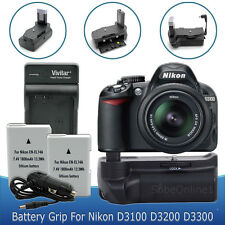 Battery Grip + 2 Battery + Charger for Nikon D3300 D3200 D3100 2300mAh